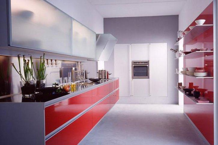 kırmızı buzlu cam dikdörtgen amerikan mutfak tarzı