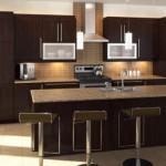 kahverengi geniş kullanışlı dolap amerikan mutfak