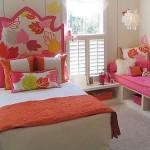 pembe aprak desenli yatak başlığı çocuk oda