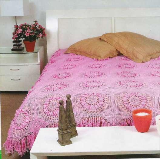 pembe daire motifli yatak örtüsü örnekleri