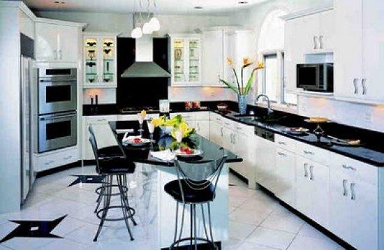 siyah beyaz çok şık amerikan mutfak modeli