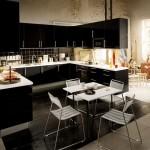 siyah beyaz kare şekil amerikan yeni tarz mutfak
