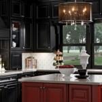 siyah kırmızı meşe dolap farklı model amerikan mutfak