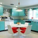 turkuaz ve kırmızının büyüleyici uyumu amerikan trend mutfak