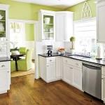 yeşil beyaz renkli küçük meşe dolap amerikan mutfak