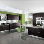 yeşil koyu kahverengi dolap büyük geniş amerikan mutfak modeli