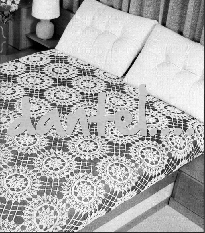 yuvarlak yıldız figürlü motifli dantel yatak örtüsü çeşitleri